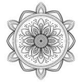 Flower black Mandala. Oriental pattern, vector illustration. Islam, Arabic, Indian ottoman motifs. Coloring book page Stock Images