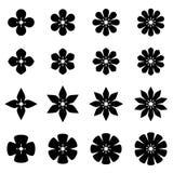 Flower black white symbols Royalty Free Stock Photo