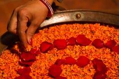 Flower blessings, Kathmandu Nepal Stock Photo