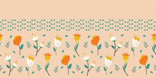 Spring flower bloom seamless border pattern. Stylized retro floral stems banner. Pretty modern feminine fashion edging. Flower bloom seamless border pattern royalty free illustration