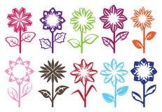 Flower Bloom Vector Design. Set of ten designs of full bloom flowers on stalk with leaves. Vector illustration  on white background Stock Photo