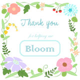 Flower bloomThank you card  Royalty Free Stock Image