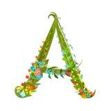Flower blossom decorative botanical elegant alphabet letter A Royalty Free Stock Photos