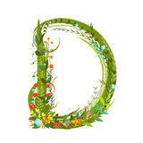 Flower blossom decorative botanical elegant alphabet letter D Royalty Free Stock Images