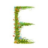 Flower blossom decorative botanical elegant alphabet letter E Stock Photo