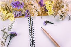 Flower blossom put on blank notebook Royalty Free Stock Image