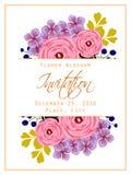 Flower blossom. Romantic botanical invitation. Stock Images