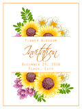 Flower blossom. Romantic botanical invitation. Royalty Free Stock Image