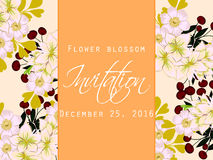 Flower blossom. Romantic botanical invitation. Royalty Free Stock Photography