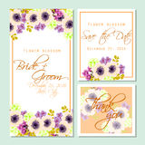 Flower blossom. Romantic botanical invitation. Stock Images