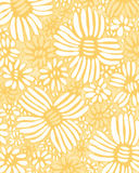 Flower blossom  yellow marigold  watercolor seamless wallpaper. Flower blossom  growing fresh and Textured oil painting colorful and beautiful floral pattern Stock Photo