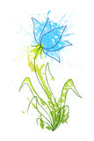Flower of blots 3. A stylized flower of grungy coloured blobs stock illustration