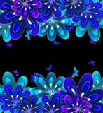 Flower blue on black background. Vector Stock Image
