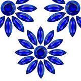 Flower blue gems. Flower gems blue color on white background Royalty Free Stock Photo