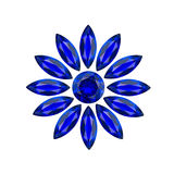 Flower blue gems. Big flower blue gems on white background Royalty Free Stock Photos