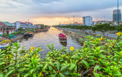 Flower boat on river suftwaves rays sunset Stock Images