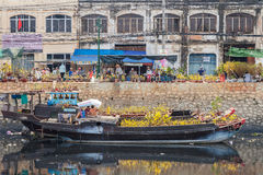 Flower boats at flowers market on Binh Dong wharf at Saigon ( Ho Chi Minh City ) , Vietnam on Lunar New Year ( TET holiday ) Stock Image