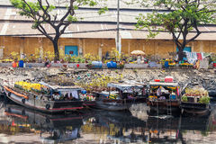 Flower boats at flowers market on Binh Dong wharf at Saigon ( Ho Chi Minh City ) , Vietnam on Lunar New Year ( TET holiday ) Royalty Free Stock Photography