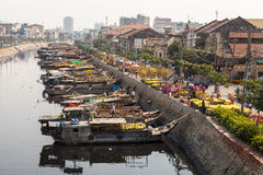 Flower boats at flowers market on Binh Dong wharf at Saigon ( Ho Chi Minh City ) , Vietnam on Lunar New Year ( TET holiday ) Stock Images