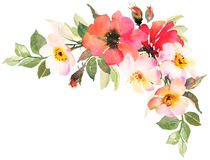 Flower bohemian bouquet with pink and red roses. Decorative composition for wedding invitation and save the date card. Watercolor illustration Royalty Free Stock Photo