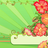 Flower border. A border of flowers on green background Stock Photo