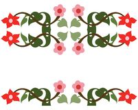 Flower border. Ilavus style flowers which is drawn as a boder usage Royalty Free Stock Photography