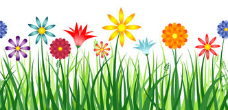 Flower Border. A colorful border depicting flowers in a field of grass. Horizontally repeatable Royalty Free Stock Photography