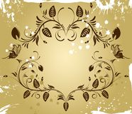 Flower border. On grunge background with butterfly, element for design, vector illustration Stock Photography
