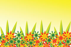 Flower border. Border full of colorful red green orange and yellow flowers with some leaves Royalty Free Stock Images