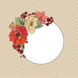 Flower border. Floral greeting card. Retro festive background. Royalty Free Stock Photography