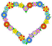 Flower border heart. Vector illustration of a colorful flower border heart Stock Photos