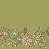 Flower border, seamless texture with flowers. Use as greeting card Stock Image