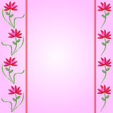 Flower Borders on Pink Gradient Background. Flower borders pink and red on a pink gradient background ideal for a greetings card stock illustration