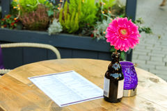 Flower in a bottle, candle and menus on the table Stock Photo