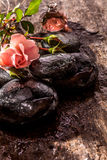 Flower and Bottle of Oil with Smooth Wet Stones Royalty Free Stock Photography