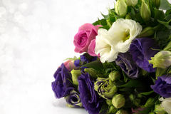 Flower Bouquet. Close up of a bouquet of pink,blue and white blooms Royalty Free Stock Images