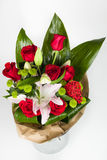 Flower Bouquet And Lily Arrangement Top View Royalty Free Stock Photography