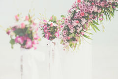 Flower bouquet arrange for wedding decoration with sea background Royalty Free Stock Image