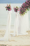 Flower bouquet arrange for wedding decoration with sea background Royalty Free Stock Photos