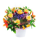 Flower bouquet arrangement centerpiece in vase isolated on white Royalty Free Stock Photography