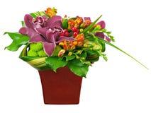 Flower bouquet arrangement centerpiece in vase isolated on white Stock Image