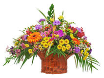 Flower bouquet arrangement centerpiece in wicker basket isolated Stock Images