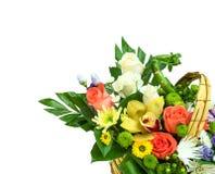 Flower bouquet in basket stock photo