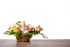 Flower bouquet in basket stock photography