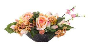 Flower bouquet in black ceramic pot Royalty Free Stock Photography