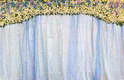 Flower bouquet on blue fabric backdrop Stock Image