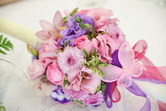 Flower bouquet. Bride flower bouquet arrangement for weddings. pink butterfly royalty free stock image