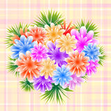 Flower bouquet on check background vector illustration