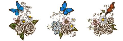 Flower bouquet of colored iris japonica, gypsophila, chamomile, almond, menelaus blue morpho, blue morpho, red lacewing