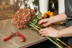 Flower bouquet creation. Stock Images
